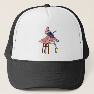 Boné Pássaro cor-de-rosa do flamingo que joga o violino
