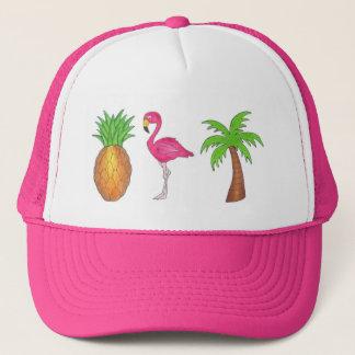 Boné Pássaro tropical do flamingo do rosa do abacaxi da