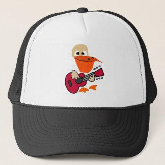 Boné Pelicano engraçado que joga a arte da guitarra