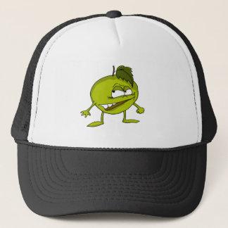 Boné Personagem de desenho animado verde da maçã com um