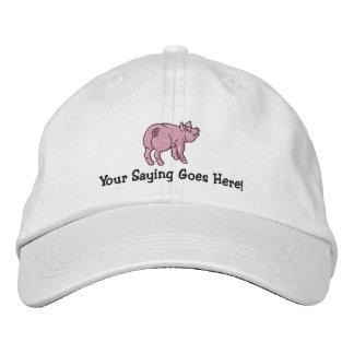 Boné Personalize um porco pequeno bonito com seu texto