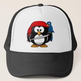 Boné Pinguim do pirata com um Bandanna vermelho e um
