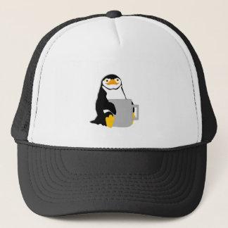 Boné Pinguim que senta-se guardarando o copo que olha