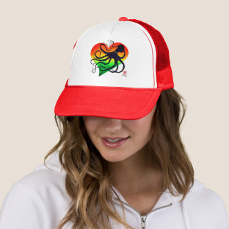 Boné Polvo no vermelho ao verde - chapéu do camionista