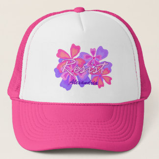 Boné Resista o nome opcional floral do rosa da
