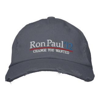 Boné Ron Paul 2012 chapéus bordados customizáveis