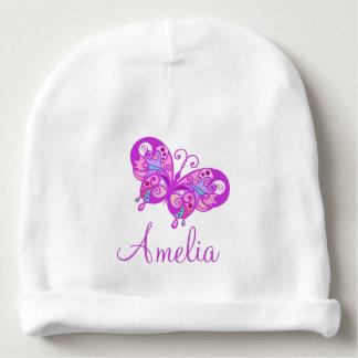 Boné roxo personalizado dos bebês da borboleta do gorro para bebê