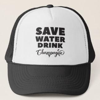 Boné Salvar a água, bebida Champagne