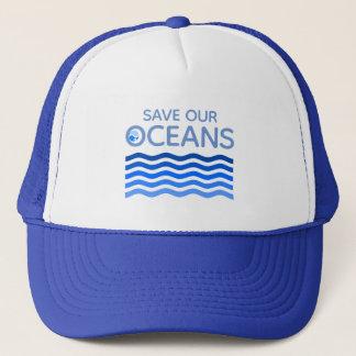 Boné Salvar nossas ondas estilizados da terra do azul