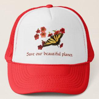 Boné Salvar nosso chapéu das flores de borboleta de