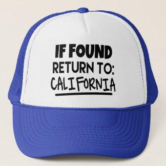 Boné Se encontrado, retorne ao chapéu de Califórnia