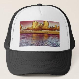 Boné Seascape artístico bonito do ouro do rosa da