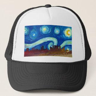 Boné Silhueta da skyline de Atlanta com noite estrelado