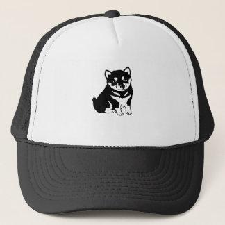 Boné T-shirt bonito da silhueta do cão de filhote de