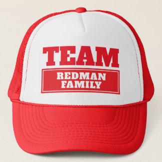 Boné Team o nome personalizado vermelho da equipe ou o