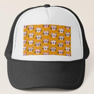 Boné Teste padrão bonito do gato na mostarda amarela