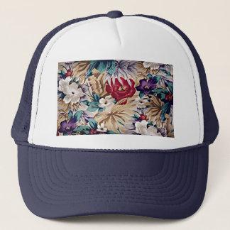 Boné Teste padrão de flor tropical retro