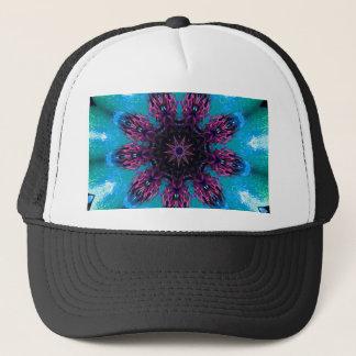 Boné Teste padrão floral azul roxo de Kaleidescape da