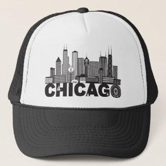 Boné Texto da skyline da cidade de Chicago preto e