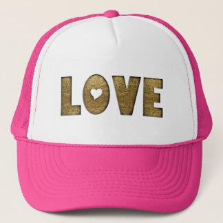Boné Texto do ouro do coração da tipografia do amor
