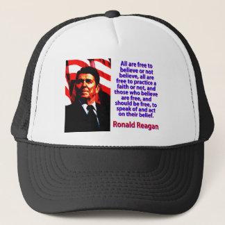 Boné Todos estão livres acreditar - Ronald Reagan