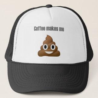 Boné Tombadilho-emoji divertido do café - design dos