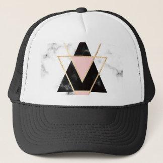 Boné Triângulos, ouro, preto, rosa, mármores, colagem,