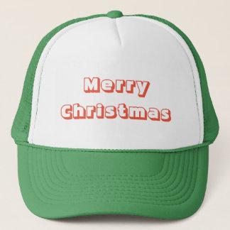 Boné Verde vermelho do chapéu do camionista do Feliz