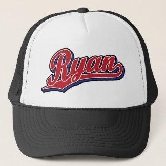 Boné Vermelho de luxe de Ryan no logotipo azul do