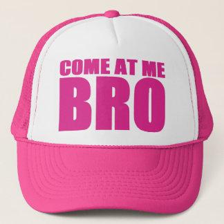 Boné VINDO EM MIM chapéu do camionista de BRO (rosa)