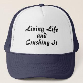 Boné Vivendo e esmagando o chapéu da vida