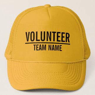 Boné Voluntário amarelo com nome feito sob encomenda da