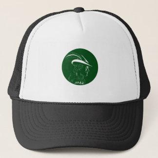 Boné Woodcut lateral do círculo do perfil de Robin Hood