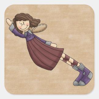 Boneca adorável do anjo de pano da arte de adesivo quadrado