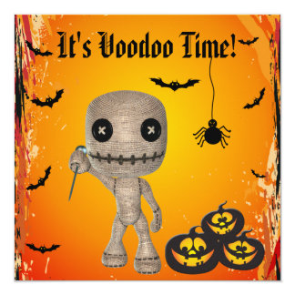 Boneca bonito do Voodoo & partido do Dia das Convite Quadrado 13.35 X 13.35cm