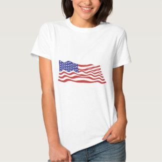 Boneca das senhoras da bandeira dos EUA (cabida) Camisetas