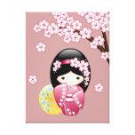 Boneca de Kokeshi do primavera do japonês Impressão De Canvas Esticada