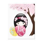 Boneca de Kokeshi do primavera do japonês Impressão Em Canvas