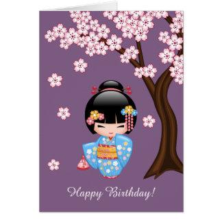 Boneca de Maiko Kokeshi - menina de gueixa azul do Cartão Comemorativo