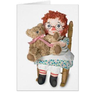 Boneca de pano e urso de ursinho cartão comemorativo