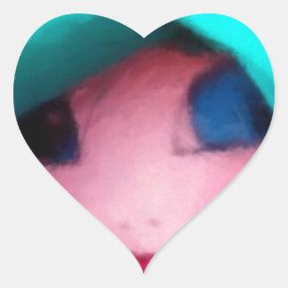 Boneca de pano na capota da cerceta adesivo coração