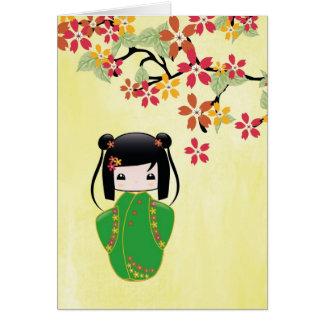 Boneca de Sakura Kokeshi, cartão