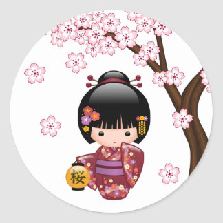 Boneca de Sakura Kokeshi do japonês Adesivo