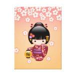 Boneca de Sakura Kokeshi do japonês Impressão De Canvas Envolvidas