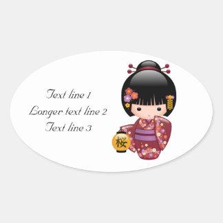 Boneca de Sakura Kokeshi - menina de gueixa no Adesivo Oval