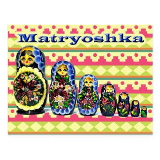 Boneca do assentamento da boneca ou do russo de cartão postal
