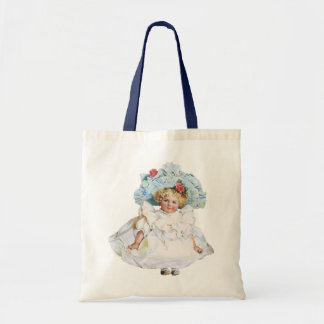 Boneca do bebé do vintage vestido da páscoa e cha bolsa para compras