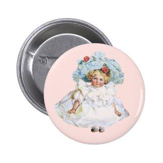 Boneca do bebé do vintage vestido da páscoa e cha pins