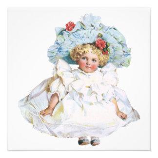 Boneca do bebé do vintage vestido da páscoa e cha convites personalizado