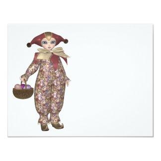 Boneca do palhaço de Pierrot com ovos da páscoa Convite 10.79 X 13.97cm